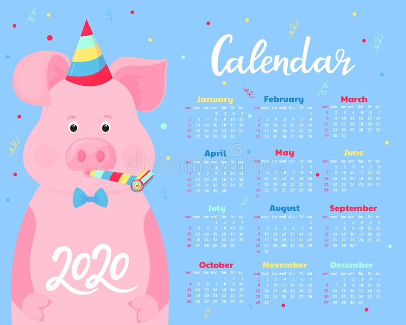 Calendar for 2020. Week start on Sunday. Cute pig in a striped party hats and horn blowers. Funny animal vector illustration