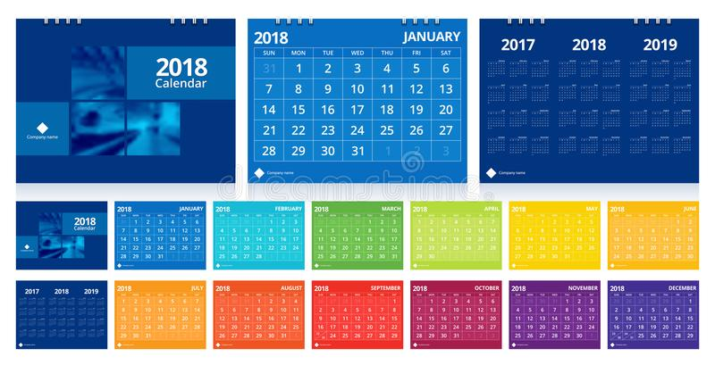 Desk calendar 2018 stock illustration