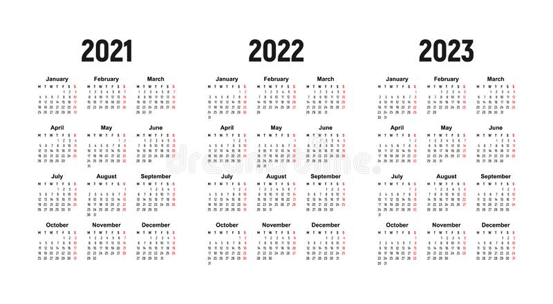 2022 2023 2023 Calendar.Calendar 2021 2022 And 2023 Week Starts On Monday Basic Business Template Stock Vector Illustration Of Company Plan 175783962