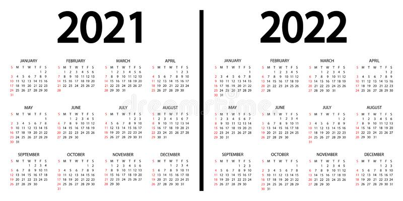 2022 Annual Calendar.Calendar 2021 2022 The Week Starts On Sunday 2021 And 2022 Annual Calendar Template 12 Months Yearly Calendar Set In 2021 And Stock Illustration Illustration Of Organizer November 195899859