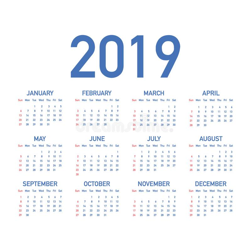 Calendar 2019, Week starts from Sunday, business template. Editable vector file available. English and Sunday to Monday version. Vector stock illustration vector illustration