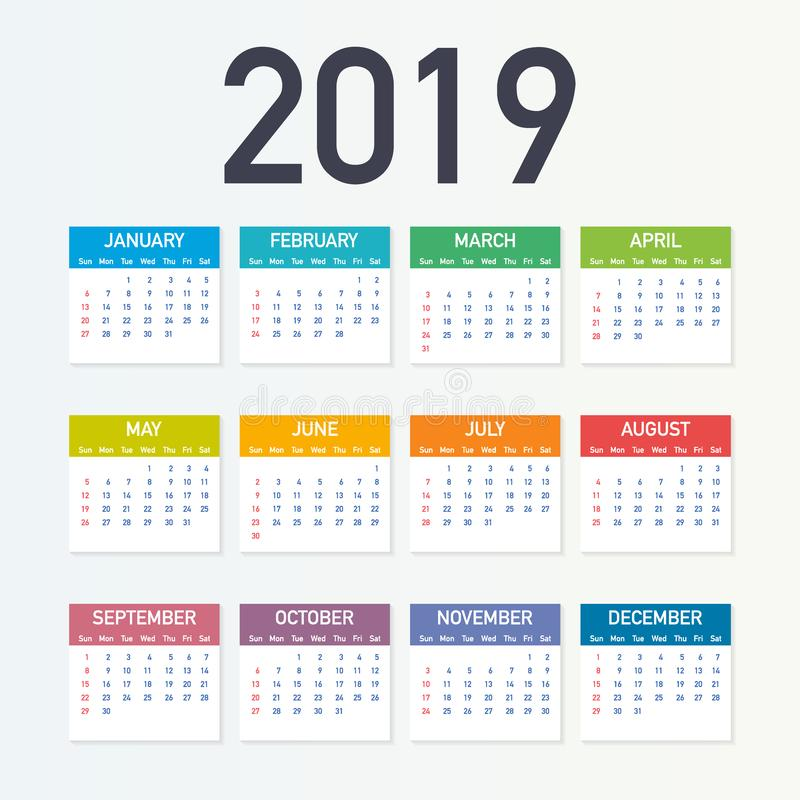 Calendar 2019, Week starts from Sunday, business template. Editable vector file available. English and Sunday to Monday version. royalty free illustration