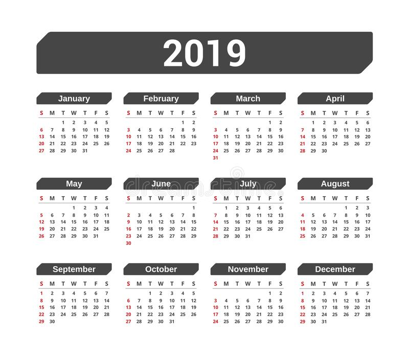 2019 Calendar royalty free illustration