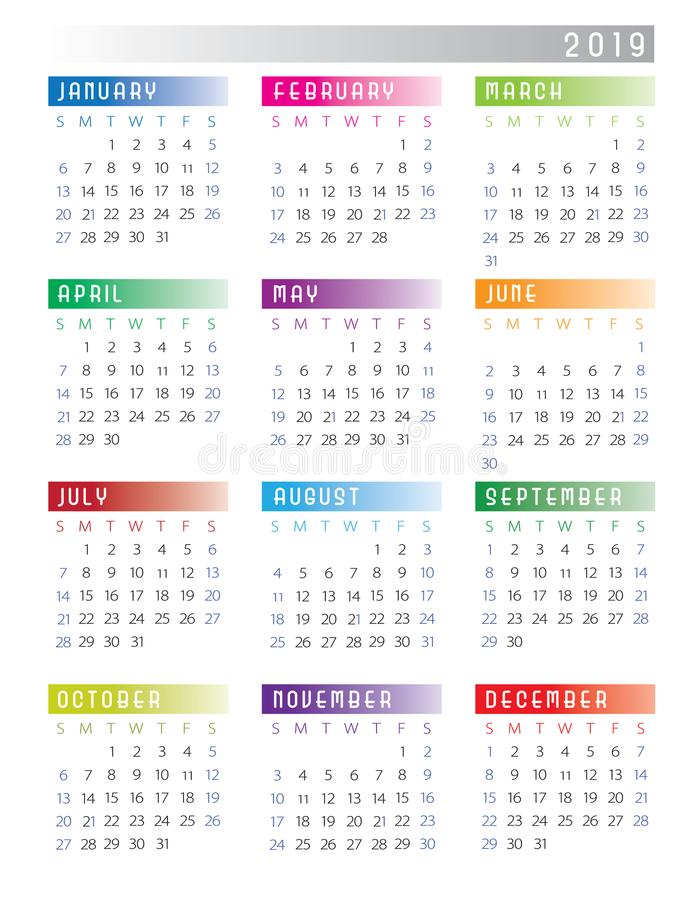 2019 Calendar Week Starts on Sunday Colorful stock illustration