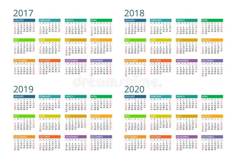 Calendar for 2017, 2018, 2019, 2020. Week Starts Sunday. Simple Vector design. vector illustration