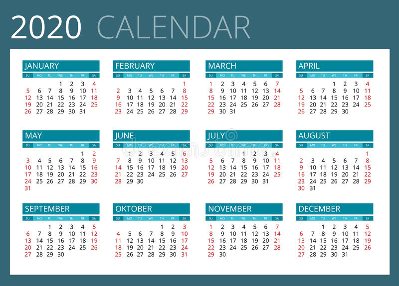 Calendar For 2020. Week Starts Sunday. Simple Vector ...