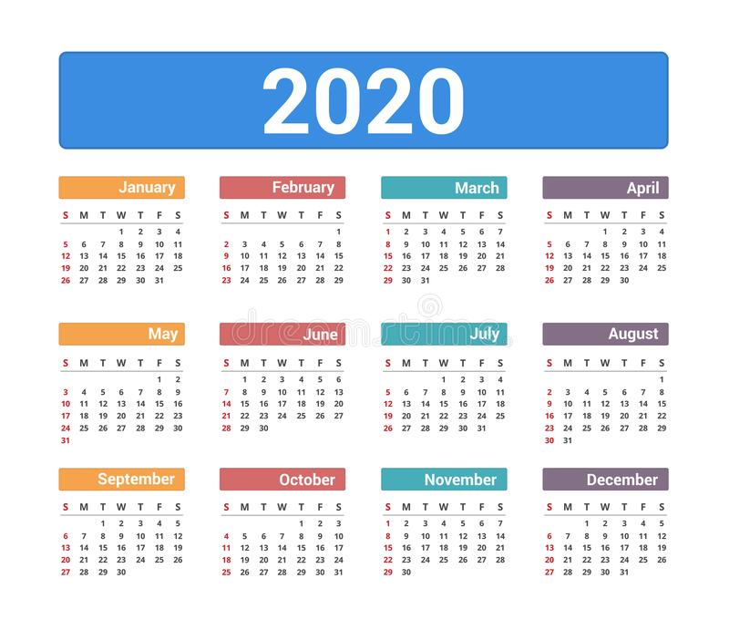 2020 Calendar royalty free stock images