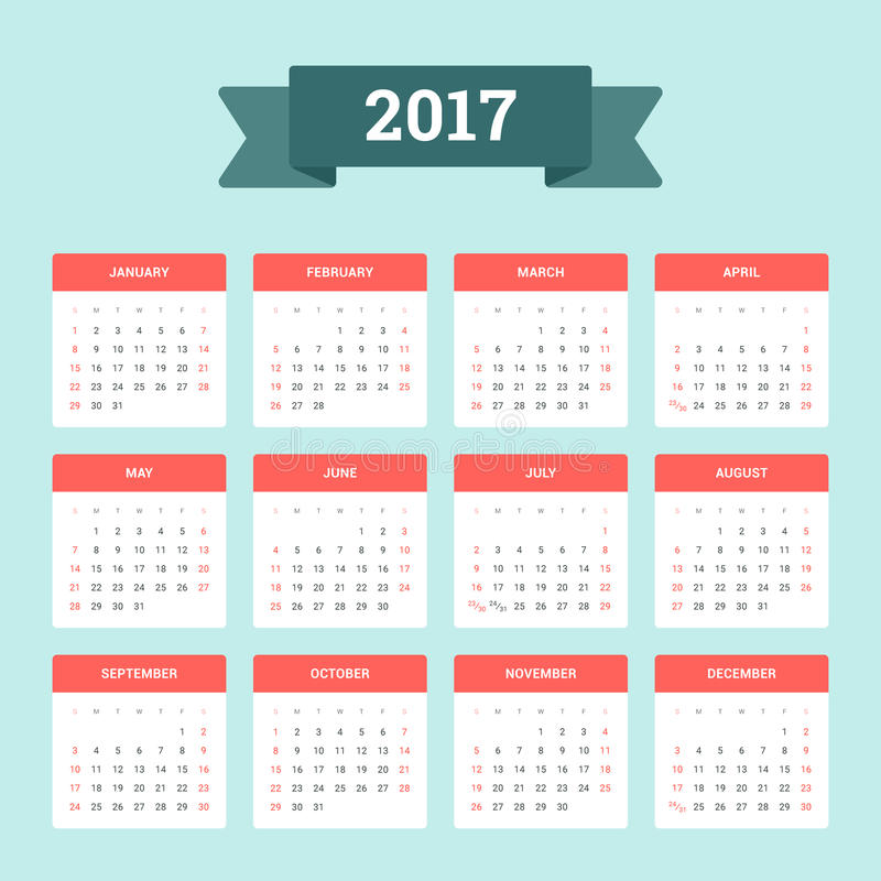 Calendar 2017. Week starts from Sunday. Vector flat design template, ready to print stock illustration