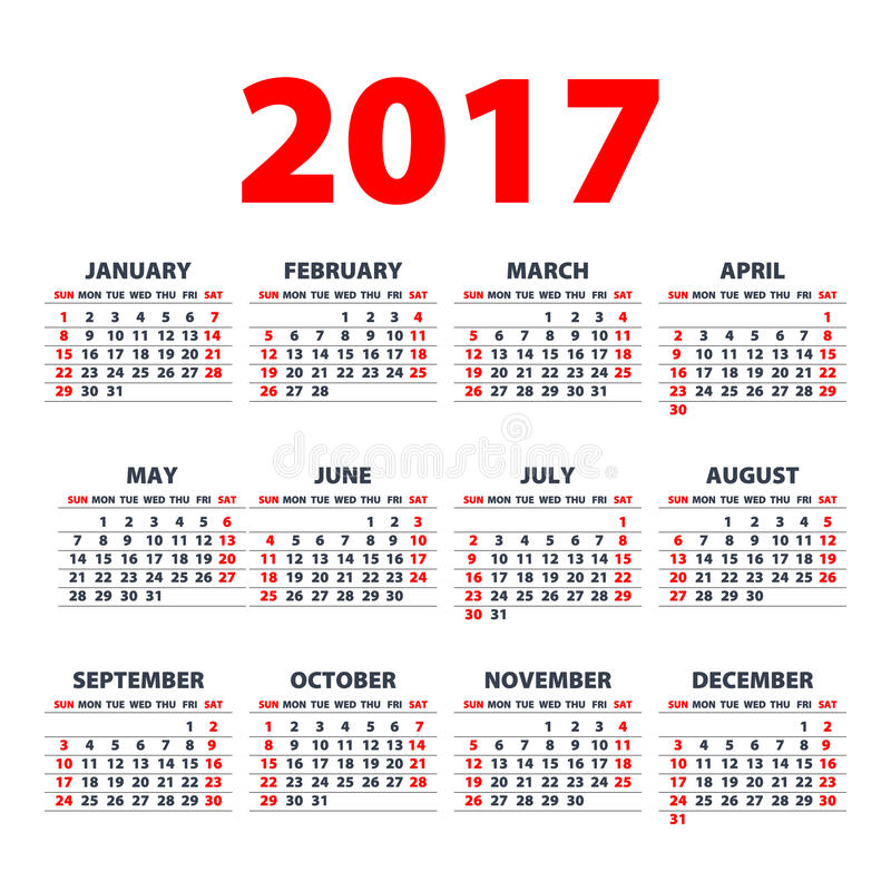 Calendar 2017 Week Starts From Sunday Vector Flat Design Template Ready To Print Stock Vector Illustration Of February December 77863737