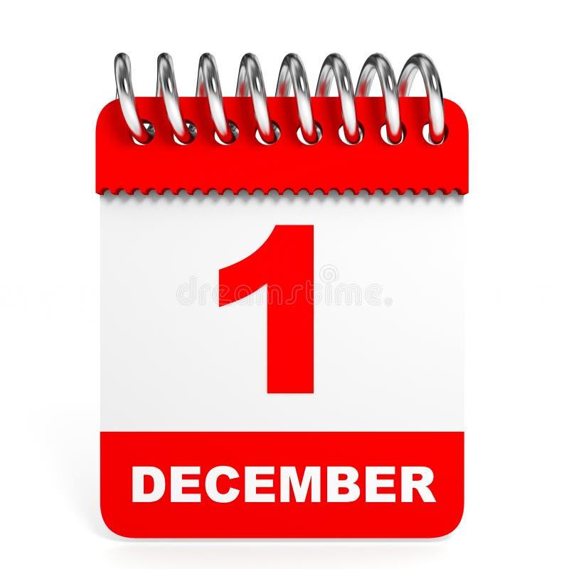 Calendar on white background. 1 December. 3D illustration royalty free illustration