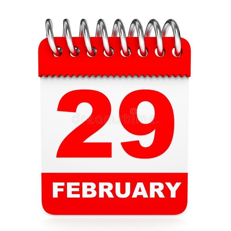 Calendar on white background. 29 February. 3D illustration royalty free illustration