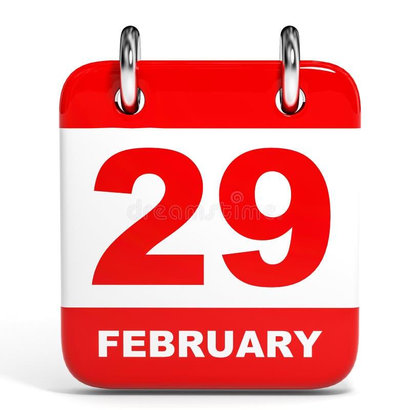 Calendar on white background. 29 February. 3D illustration stock illustration