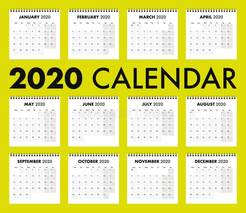 2020 calendar with wire bind royalty free stock photo