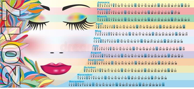 Calendar 2017 with woman face stock photography