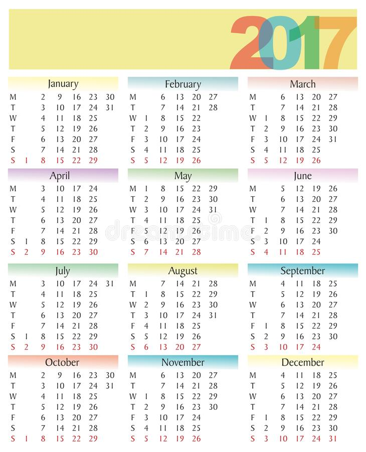 Calendar 2017 with woman face royalty free stock image