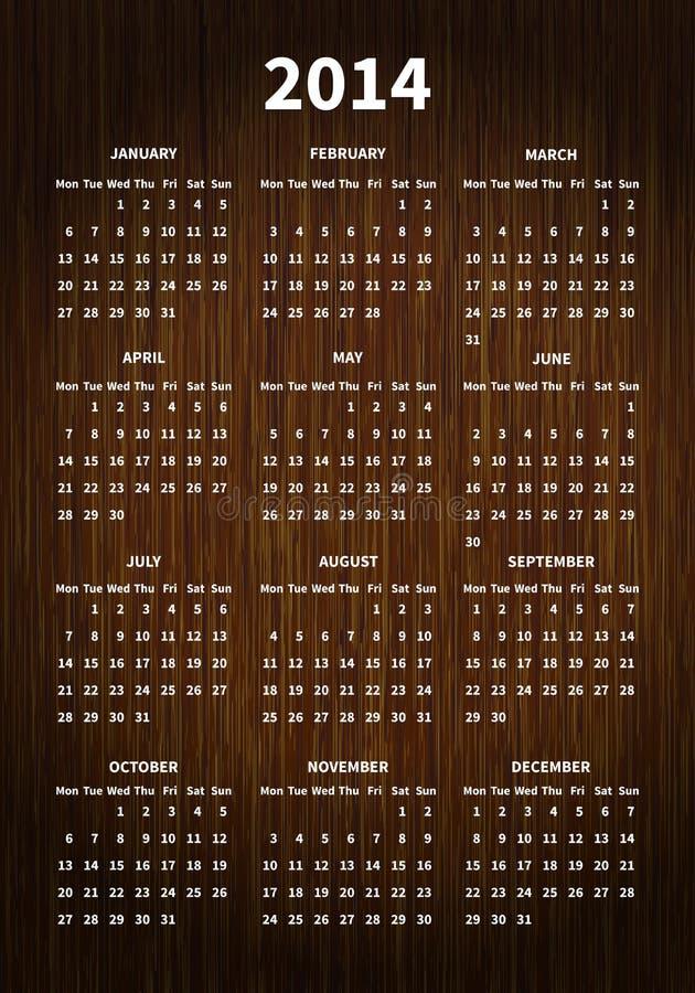 2014 Calendar On Wood Texture Stock Photo