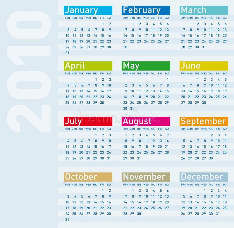 Calendar for year 2010 vector illustration