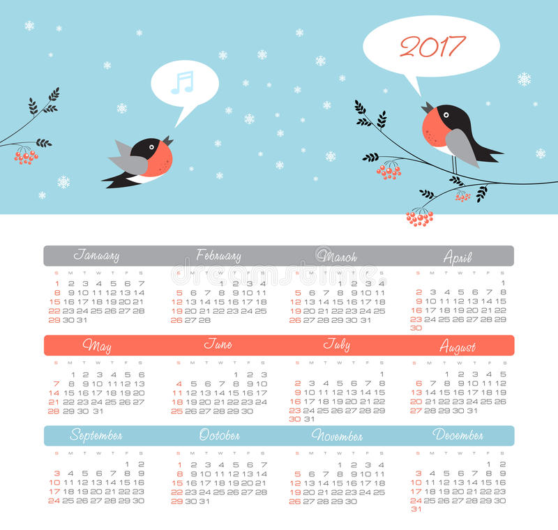 Calendar 2017 year with bird. Week Starts Sunday. Modern vector Calendar 2017 year with bird. Week Starts Sunday, eps 10 vector illustration