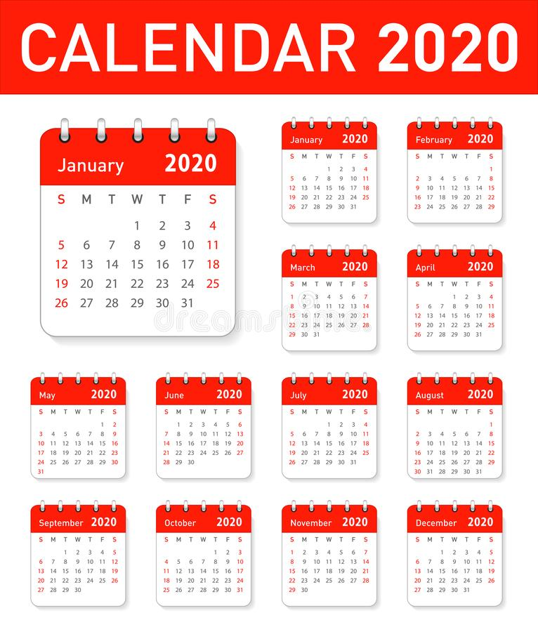 Calendar for 2020 year in clean minimal table stock illustration