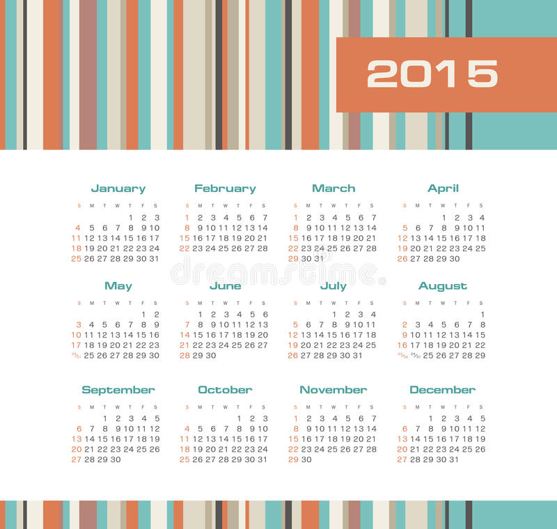 Download Calendar 2015 Year With Colored Stripes Stock Vector - Image: 43206302