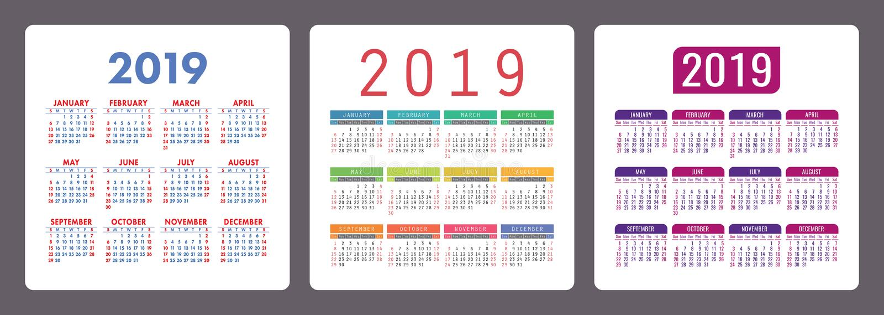 Calendar 2019 year. Colorful English set. Week starts on Sunday. stock illustration