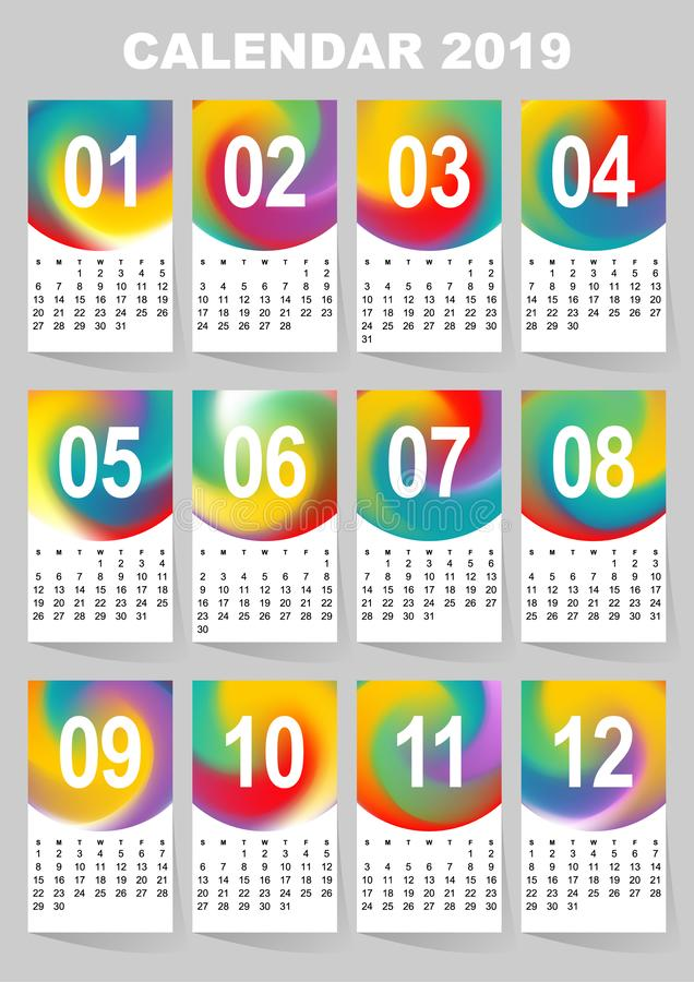Calendar for 2019 year. Colorful gradient mesh vector set. The week starts on Sunday. Template for your design royalty free illustration