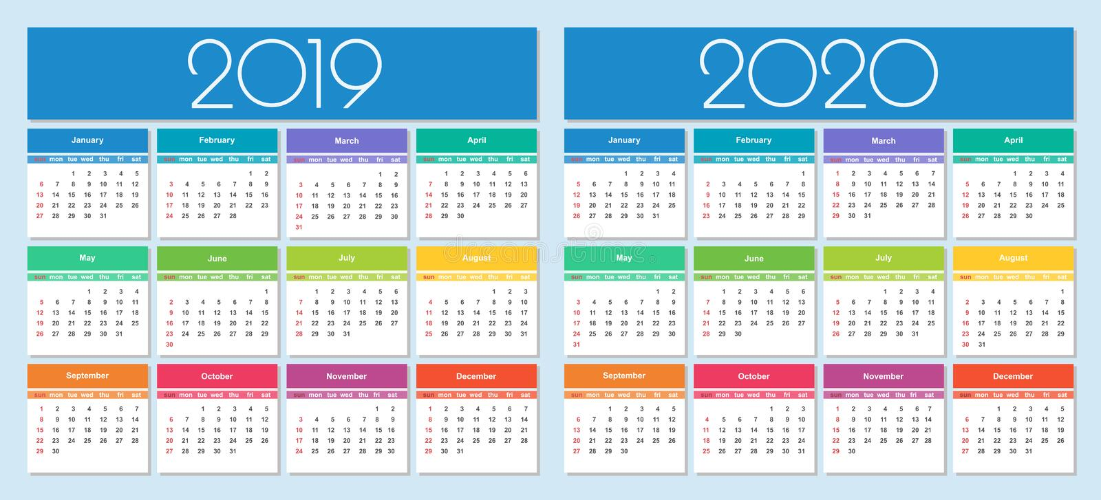 Calendar 2019 and 2020 year royalty free illustration