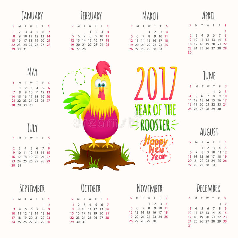 Cute Calendar Illustration : Calendar year cute design with cartoon rooster stock