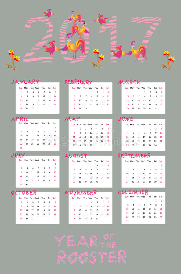 Cute Calendar Illustration : Calendar for year with cute roosters and hens stock
