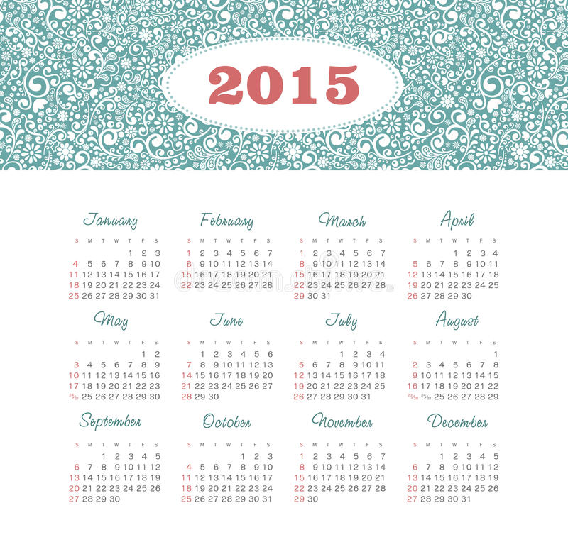 Download Calendar 2015 Year With Decorative Pattern Stock Vector - Illustration: 43206569