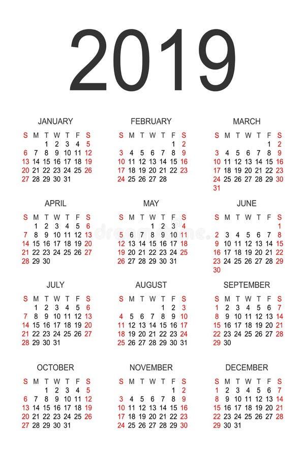 sunday through saturday calendar template - calendar 2019 year design template stock vector