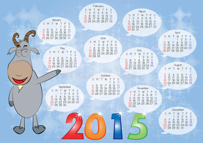 Calendar for Year 2015_08 stock illustration