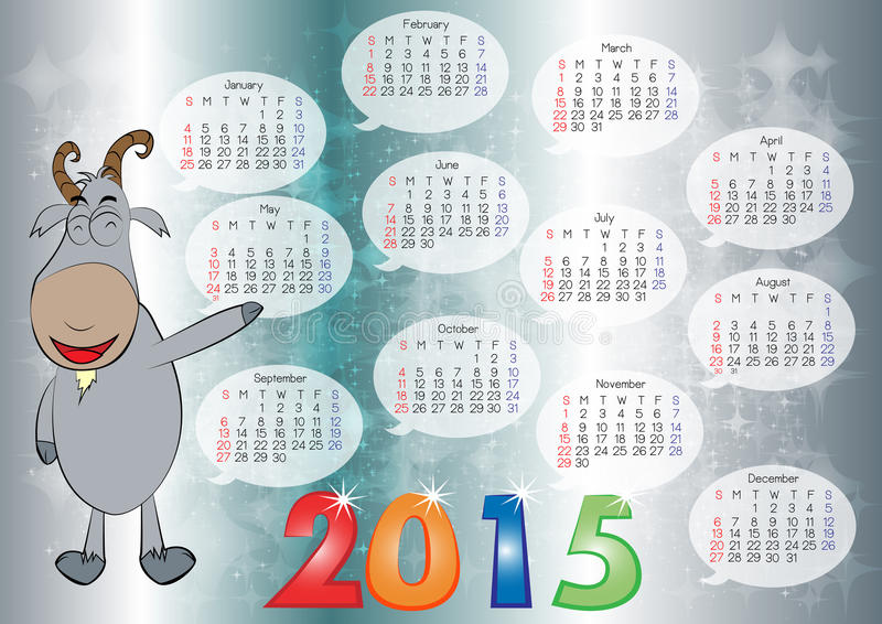 Calendar for Year 2015_07 stock illustration