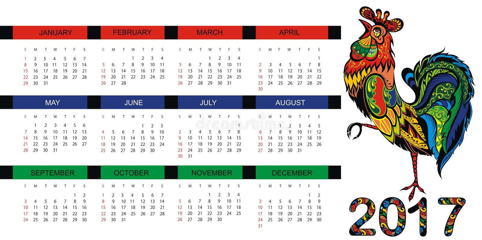 Calendar for 2017 year with fairy rooster royalty free illustration