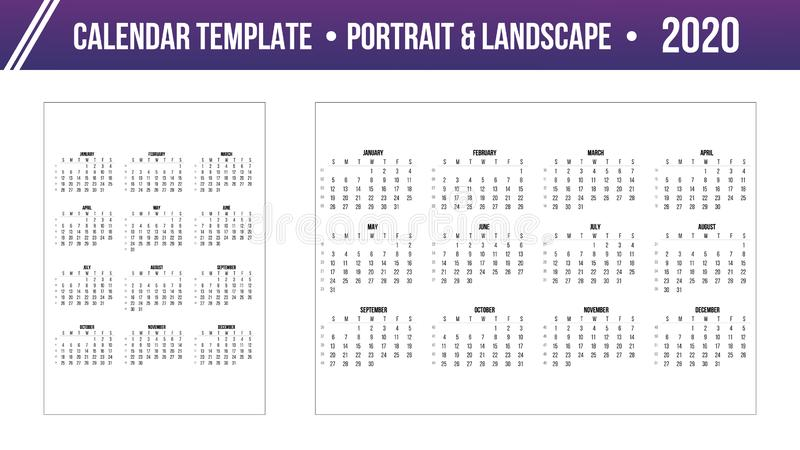 Calendar 2020 year Grid template in Portrait and Landscape simple style. Week starts from Sunday. Stock vector illustration stock illustration