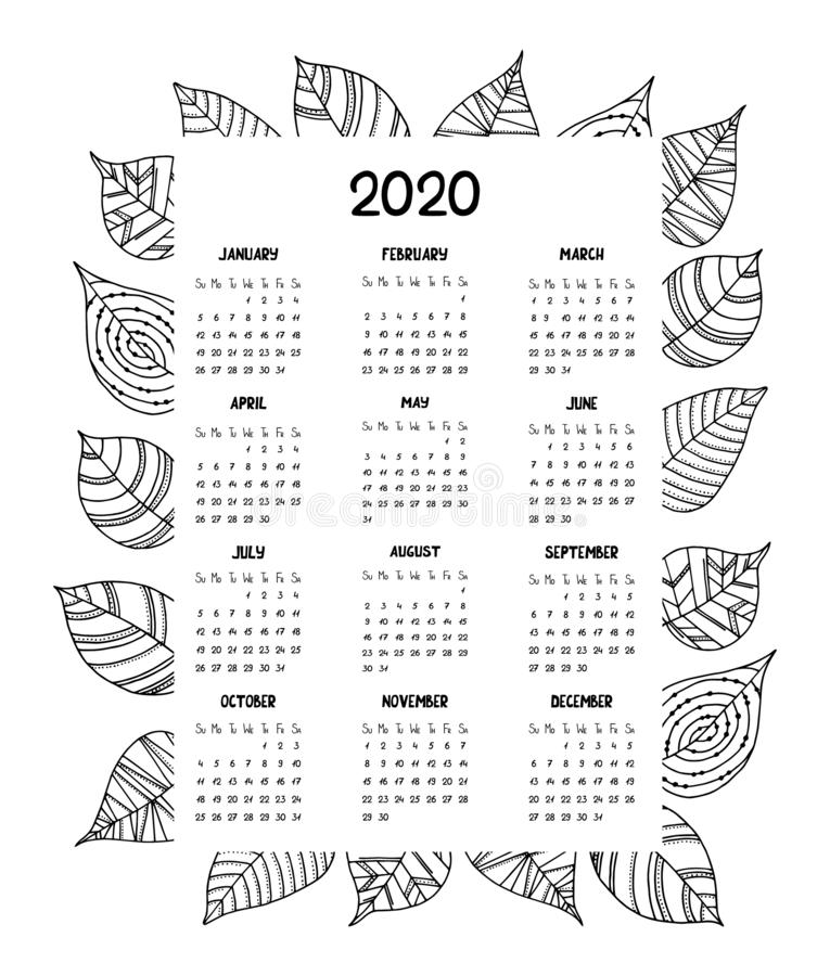 Calendar for the year 2020 with hand drawn decorative leaves. royalty free illustration