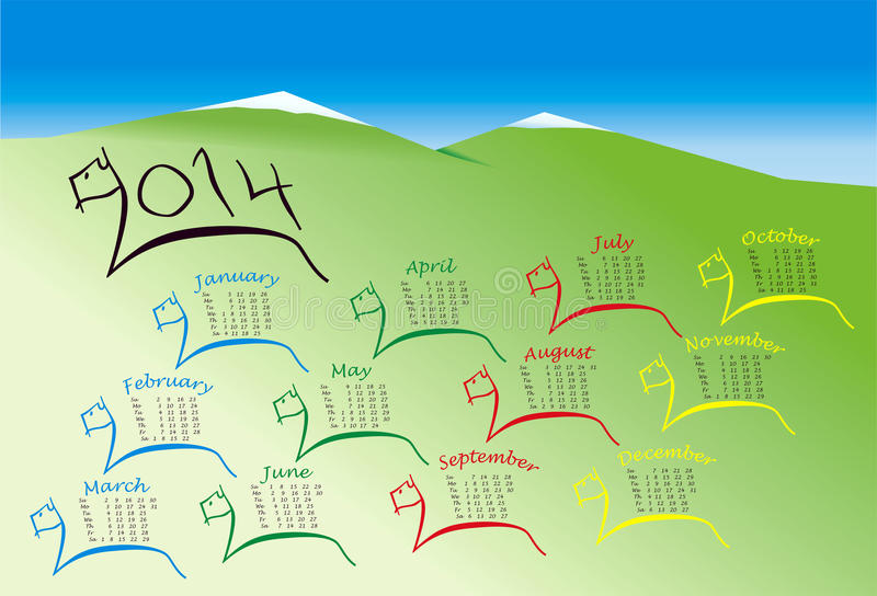 2014 Calendar Year of Horse stock photo