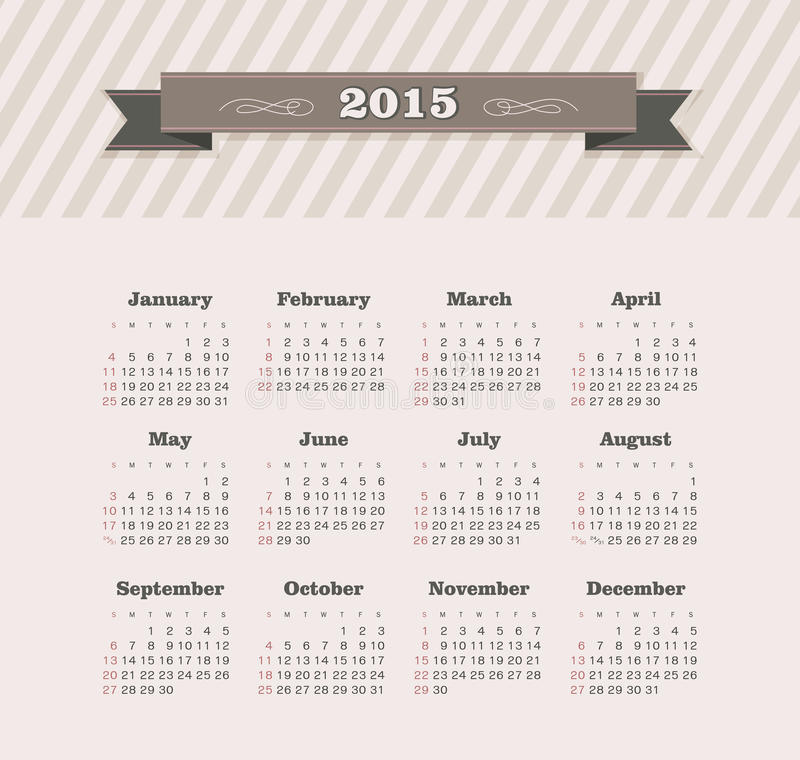 Download Calendar 2015 year stock vector. Illustration of calender - 43209729