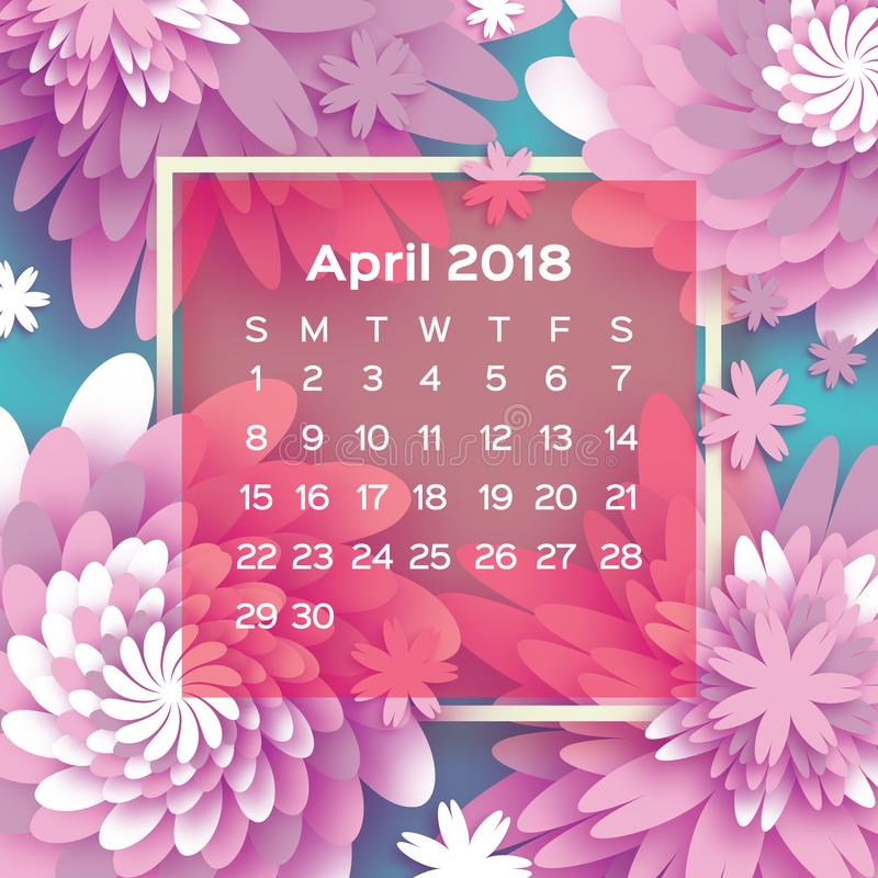 Xs Calendar April : Calendar year pink april origami flower paper cut