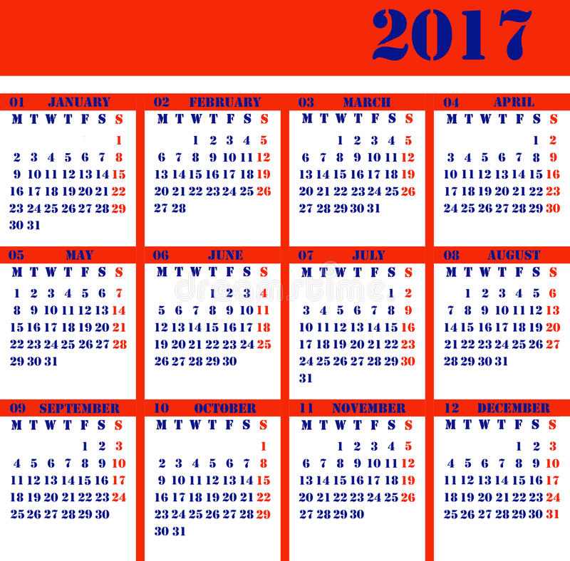 Calendar for the year 2017 royalty free stock photos