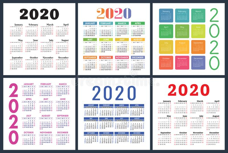Calendar 2020 year set. Vector square calender design template. Colorful English collection. Week starts on Sunday.  stock illustration
