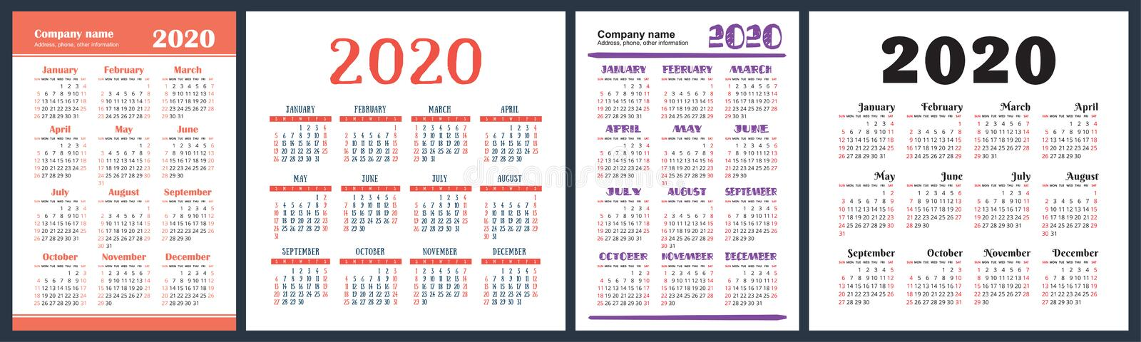 Calendar 2020 year set. Vector square and vertical calender design template. Colorful English collection. Week starts on Sunday.  vector illustration