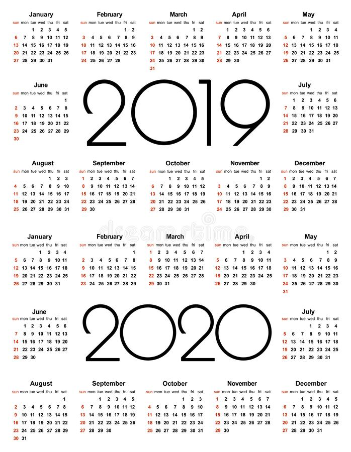 Calendar 2019 and 2020 year. Simple Vector Template. Stationery Design Template. Calendar design in black and white colors, stock illustration