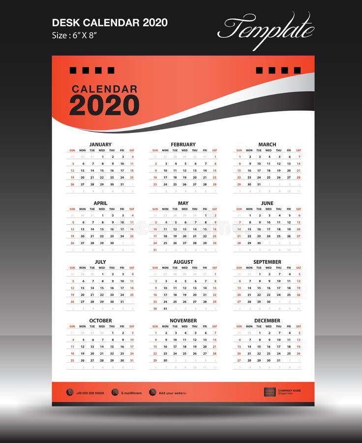 Calendar 2020 year Size 6x8 inch vertical, Week start Sunday, business flyer, orange background, vector. Illustration vector illustration