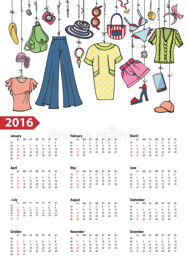 Calendar 2016 year.Summer fashion .Colored vector illustration