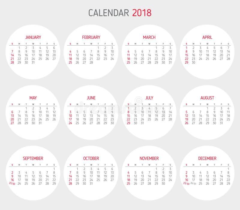 Calendar 2018 Year Template Circle Shape Stock Vector