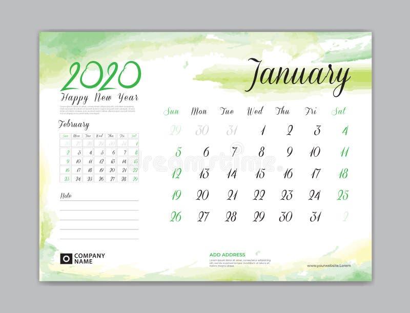 Calendar for 2020 year template, January month, Desk Calendar 2020, week start on sunday, planner design, stationery vector illustration