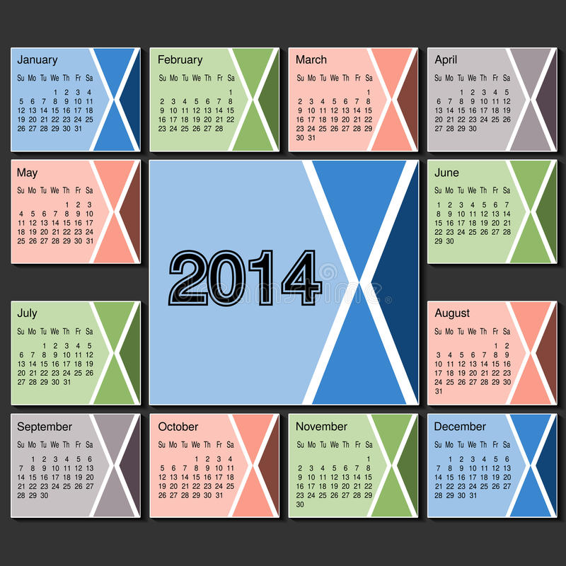 Calendar 2014 Year Template Modern Layout Page Stock Vector