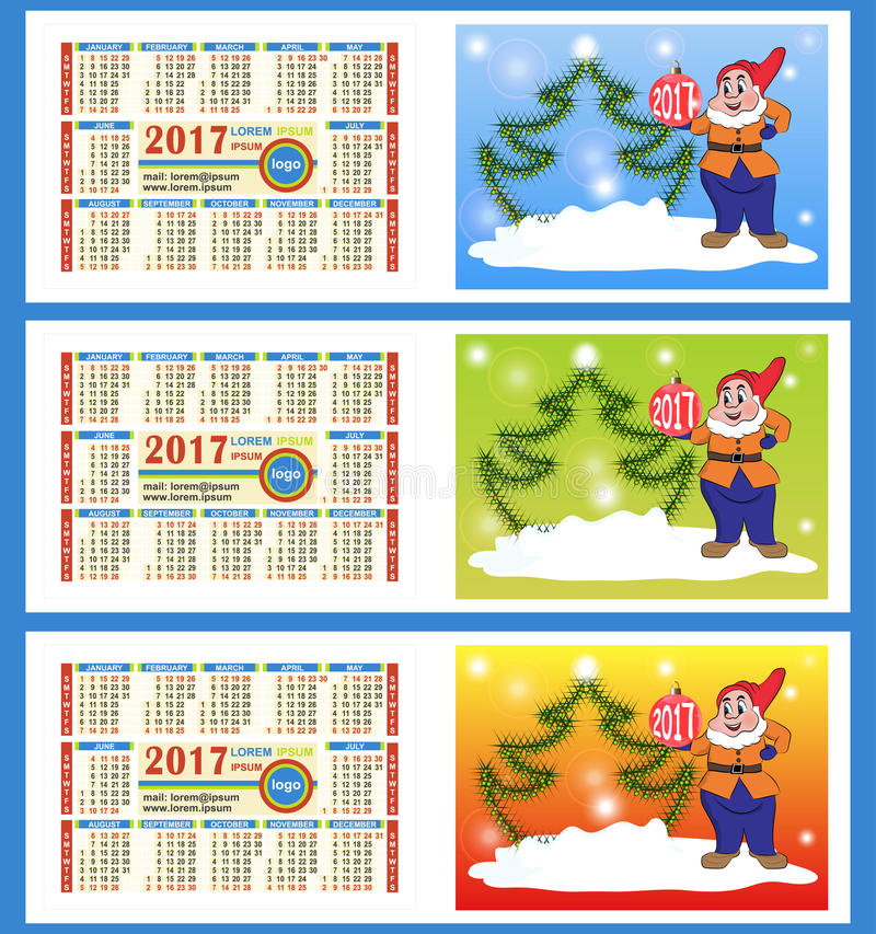 Calendar 2017 year. Two sides. Colorful gnome with a ball and Ch stock illustration