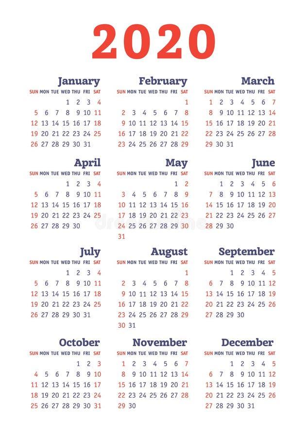 Calendar 2020 year. Vector design template. English vertical pocket calender. Week starts on Sunday royalty free illustration